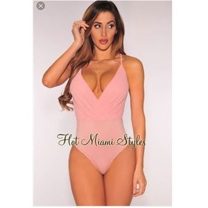 Dark salmon pink body suit from Hot Miami Styles